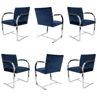 Brno Flat Bar Navy Velvet Chairs - S/6 For Sale
