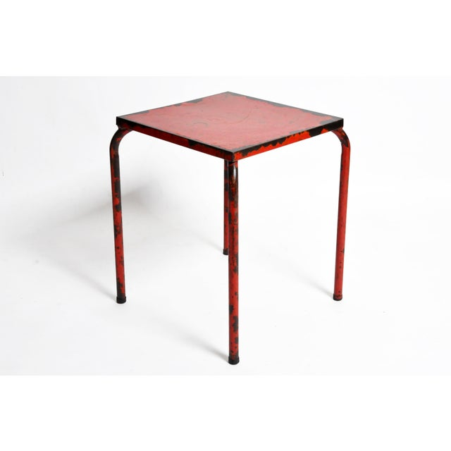 1960s French Rustic Red Café Table For Sale In Chicago - Image 6 of 7