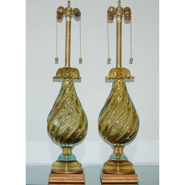 Matched pair of vintage Murano glass table lamps from Marbro in a deep CHAMPAGNE GOLD. The Sommerso style is responsible...