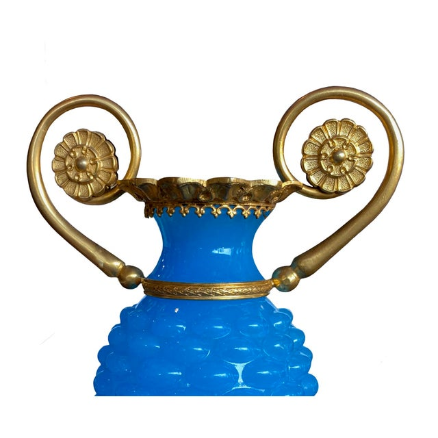 French French Baccarat Opaline Vase Mounted in Gilt Bronze Ormolu For Sale - Image 3 of 5