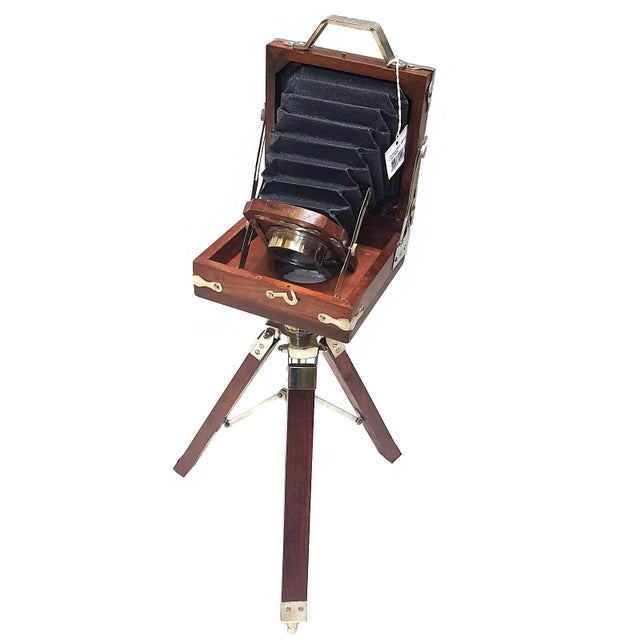 Industrial Vintage Nickel Plated Brass Camera with Tripod Stand Replica For Sale - Image 3 of 7