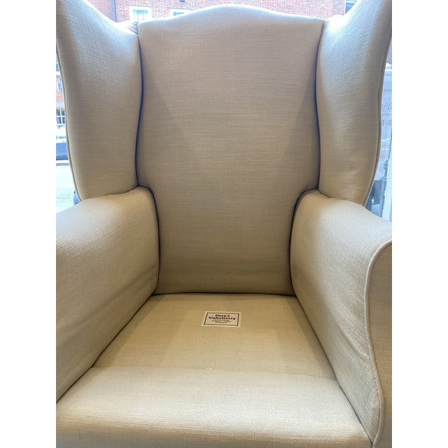 Wood 1920s Antique Mahogany, Belgian Linen and Down Cushion Wingback Chairs - a Pair For Sale - Image 7 of 12
