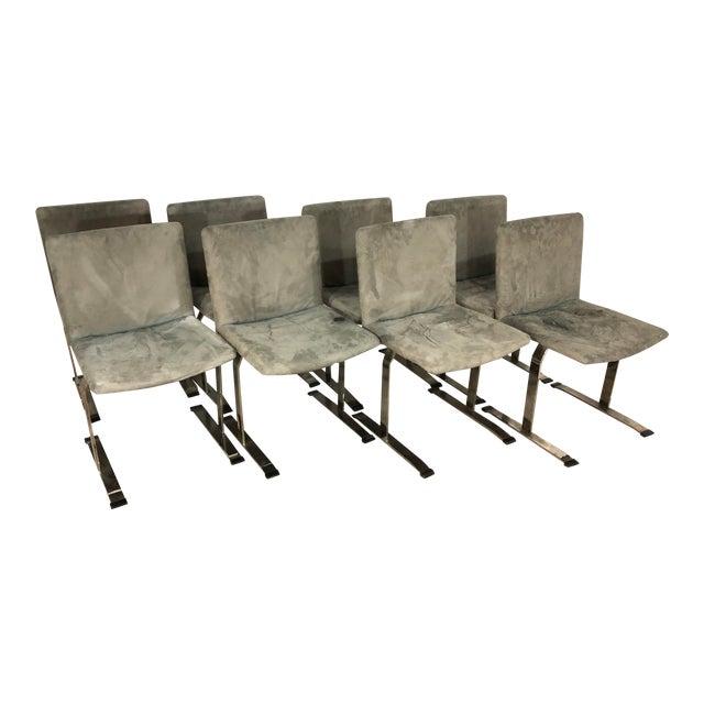 Seven Giovanni Offredi for Saporiti Chrome Dining Chairs For Sale