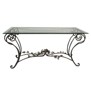Wrought Iron Beveled Glass Bird Sofa Table For Sale