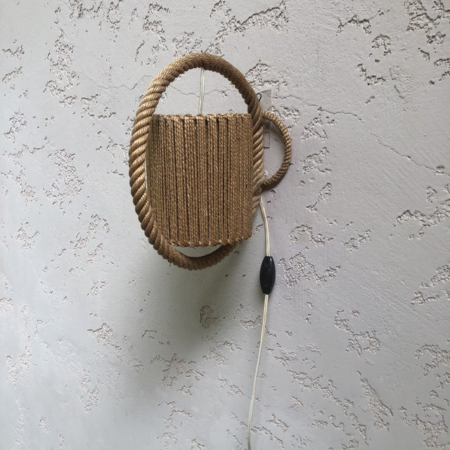 Mid-Century Modern Rope Sconce Audoux Minet, Circa 1960 For Sale - Image 3 of 6