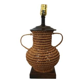 Vintage Woven Urn Lamp