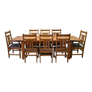 Crafters and Weavers Mission Stow Leaf Table With #401 Chair Dining Set - Light Oak - 9 Pieces For Sale