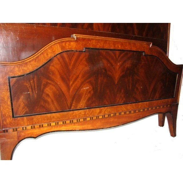 Twin Mahogany Flame Headboards - A Pair - Image 4 of 7