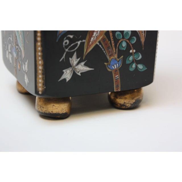 Ceramic Chinoiserie Style Ebony Rectangular Ceramic Vase With Floral Decoration For Sale - Image 7 of 8