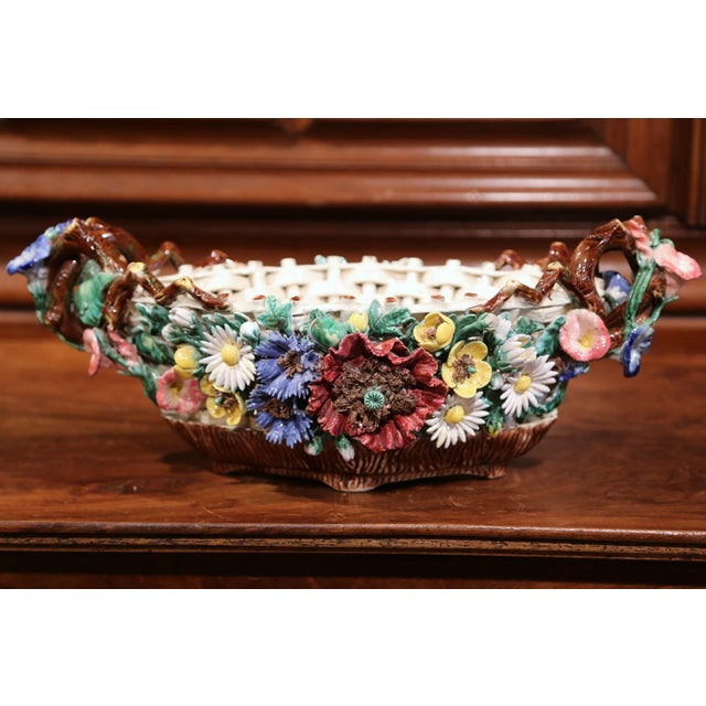 French 19th Century French Hand-Painted Oval Barbotine Jardinière With Flowers For Sale - Image 3 of 10