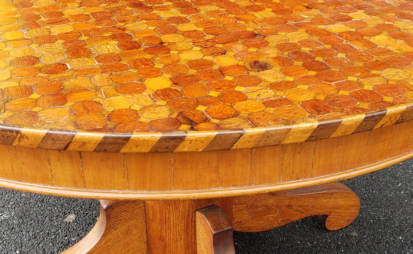 Description: This Is A Great And Unusual Round Dining Room Table. Table Top  Is