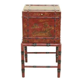 Chinoiserie Decorated Flip Top 2 Piece Box on Stand For Sale
