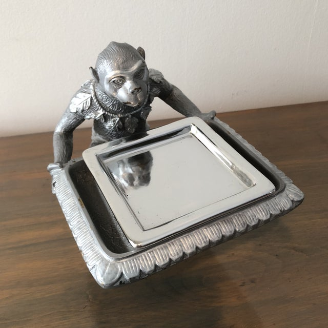 1970s Art Deco Silver Monkey Business Card Holder/Tray For Sale - Image 4 of 6