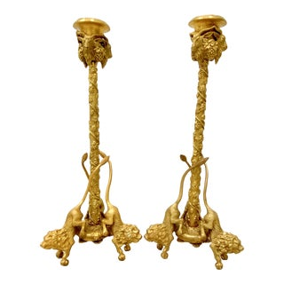 Antique French Gilded Bronze Candle Holders W/ Lions and Goat Heads - a Pair For Sale