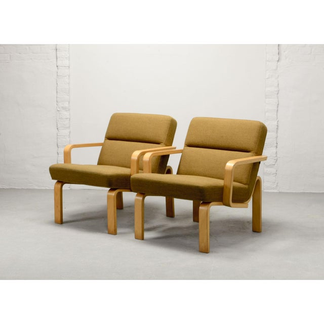 Mid-Century Danish Plywood and Mustard Fabric Lounge Chairs by Rud Thygesen for Magnus Olesen, 1970s For Sale - Image 12 of 12