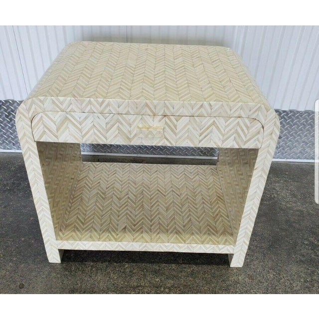 1970s 1970s Tessellated Bone Nightstand With Drawer For Sale - Image 5 of 13