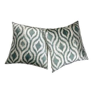 Pair of Light Blue Green Silk Ikat Pillows For Sale