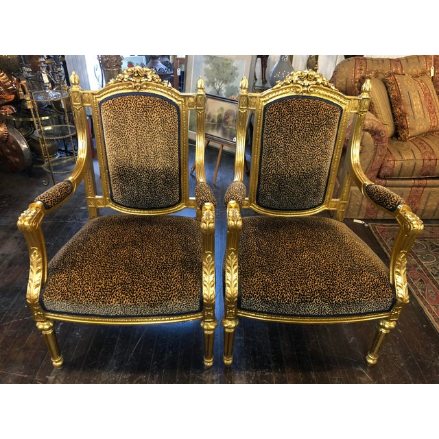 French Louis Gold Gilt Chairs - a Pair For Sale - Image 10 of 10