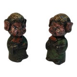 Image of Antique Lead Geisha Girl Toys - A Pair For Sale