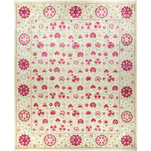 """Suzani Hand-Knotted Area Rug 12' 4"""" x 15' 3"""" For Sale - Image 9 of 9"""