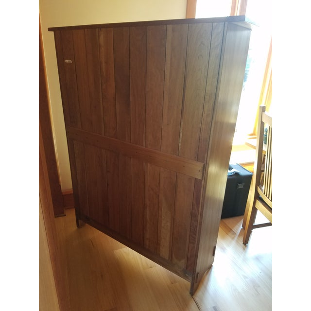 Stickley Cherry Leaded Glass Double Door Bookcase For Sale - Image 11 of 13