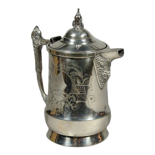 Victorian Silver Plate Water Pitcher with Ballon Engraving For Sale