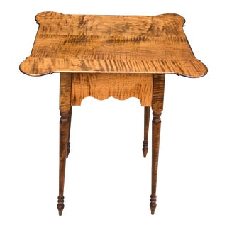 Late 20th Century Tiger Maple Side Table For Sale
