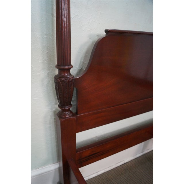 Brown Baker Mahogany Chippendale Style Queen Poster Bed For Sale - Image 8 of 10