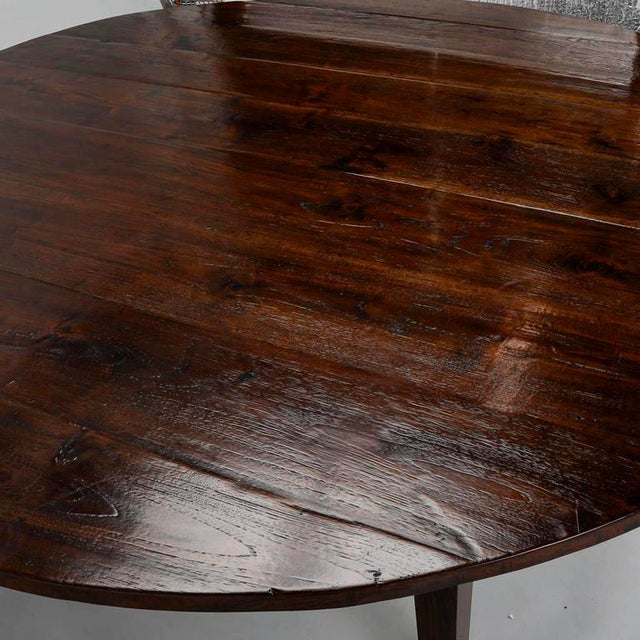 19th Century English Round Chestnut Farmhouse Dining Table - Image 4 of 9