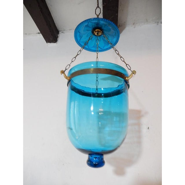 Turquoise 19th Century Cobalt Blue English Bell Jar Lantern Chandelier For Sale - Image 8 of 8