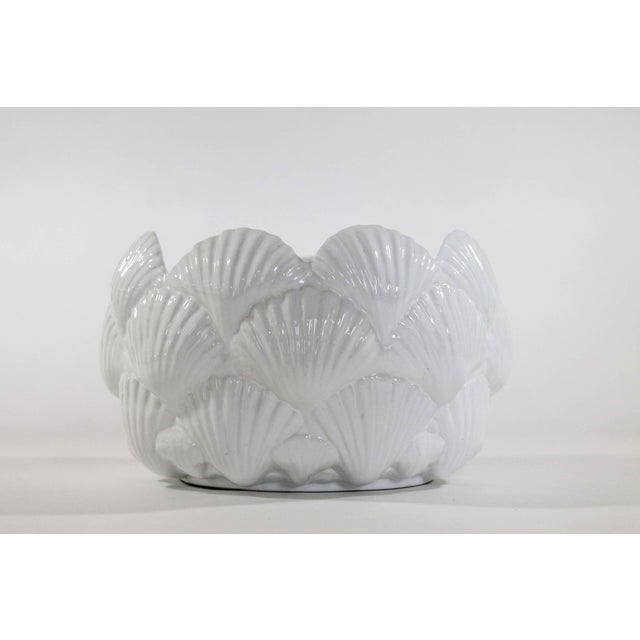 """Italian white ceramic bowl with sea shell motif. Could serve as a fruit bowl or planter. Marked """"Made in Italy"""" on bottom...."""