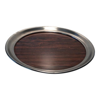 Vintage Wood Grain & Pewter Cocktail Serving Tray