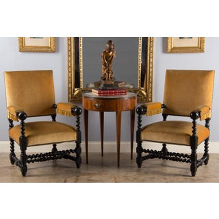 19th Century Louis XIII Style Ebonized Wood Armchairs - a Pair Preview