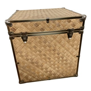 Vintage Woven Grass Rattan Trunk For Sale