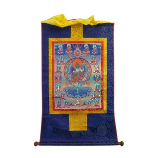 Tibetan Print Fabric Trim Deity Art Wall Scroll Thangka For Sale