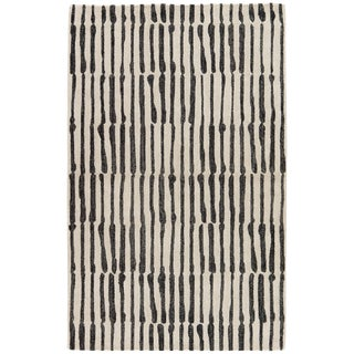 Nikki Chu by Jaipur Living Saville Handmade Abstract White/ Black Area Rug - 8' X 10'