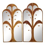 Image of Vintage Mirror Pencil Reed Rattan Palm Tree Folding Screens- a Pair For Sale
