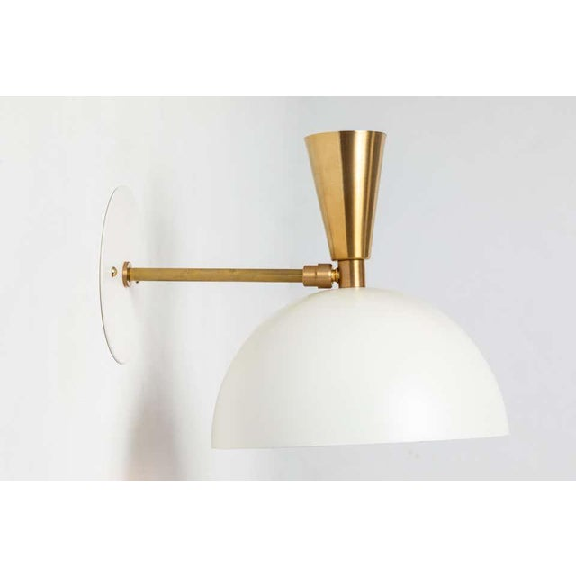 Alvaro Benitez 'Lola Ii' Sconces in White Metal and Brass - a Pair For Sale - Image 4 of 13