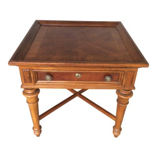 Heckman Furniture Single Drawer Burl Walnut Inlaid Accent Table For Sale