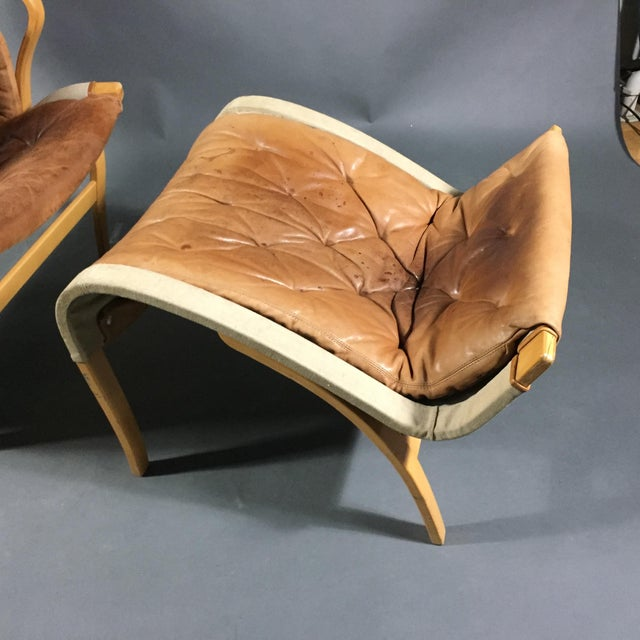 "Bruno Mathsson ""Pernilla"" Lounge Chair + Ottoman, Sweden For Sale - Image 12 of 13"