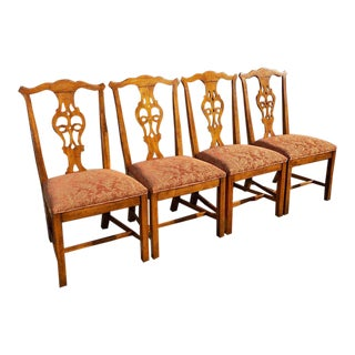 1970s Vintage Henredon Country French Chippendale Dining Chairs- Set of 4 For Sale
