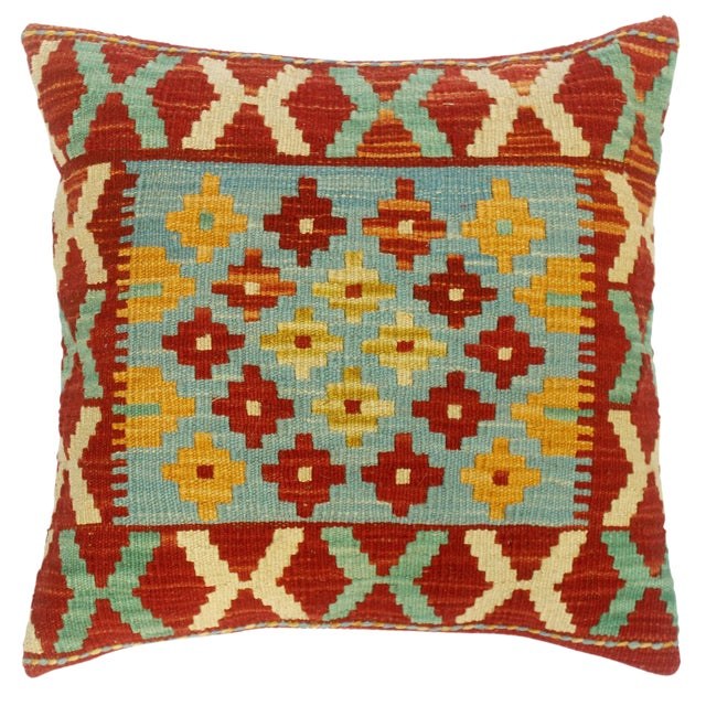 """Christee Red/Lt. Blue Hand-Woven Kilim Throw Pillow(18""""x18"""") For Sale"""