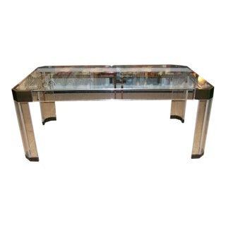 Mid-Century Modern Charles Hollis Jones Thick Lucite and Bronze Dining Table For Sale