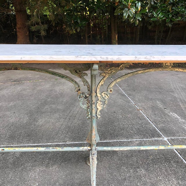 19th Century Cast Iron Marble Top Sofa Table ~ Confectioner's Table For Sale - Image 10 of 13