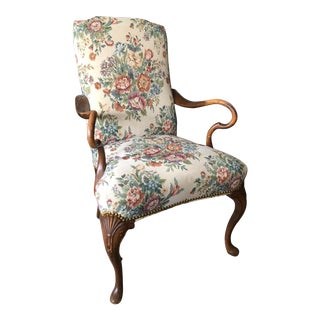 1940s Vintage Traditional Tapestry Covered Bergere Chair For Sale