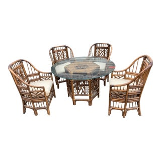 Chippendale Brighton Pavillion Rattan and Bamboo Set - 5 Pieces For Sale