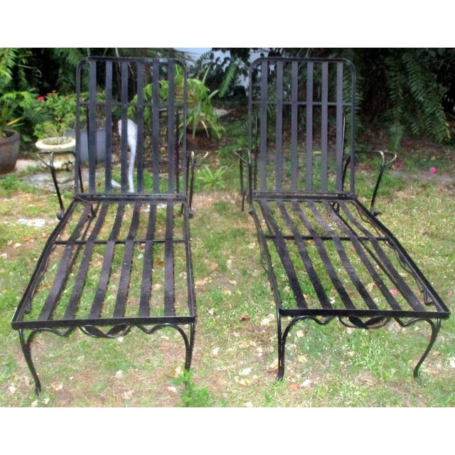 Mid-Century Modern 1960s Mid-Century Modern Iron Woodard Outdoor Chaise Lounges - a Pair For Sale - Image 3 of 9
