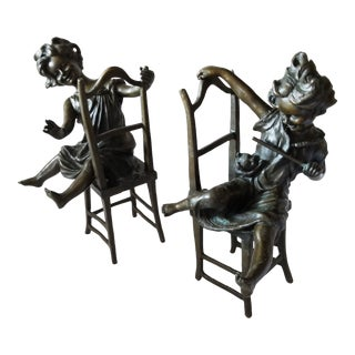 Pair of Figural Bronze Statues For Sale