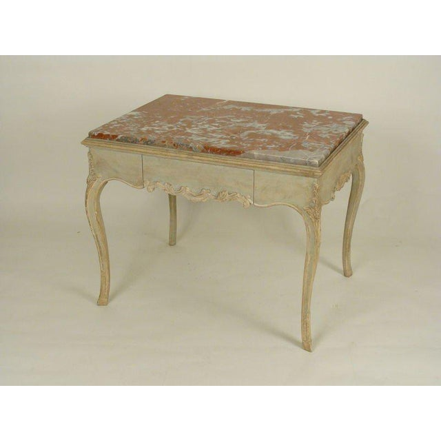 Louis XV style painted marble top occasional table, late 20th century.