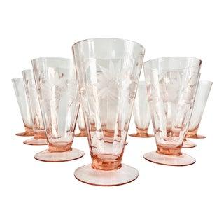 1930s Art Deco Pink Tiffin Franciscan Etched Trumpet Shaped Glassware - Set of 10 For Sale